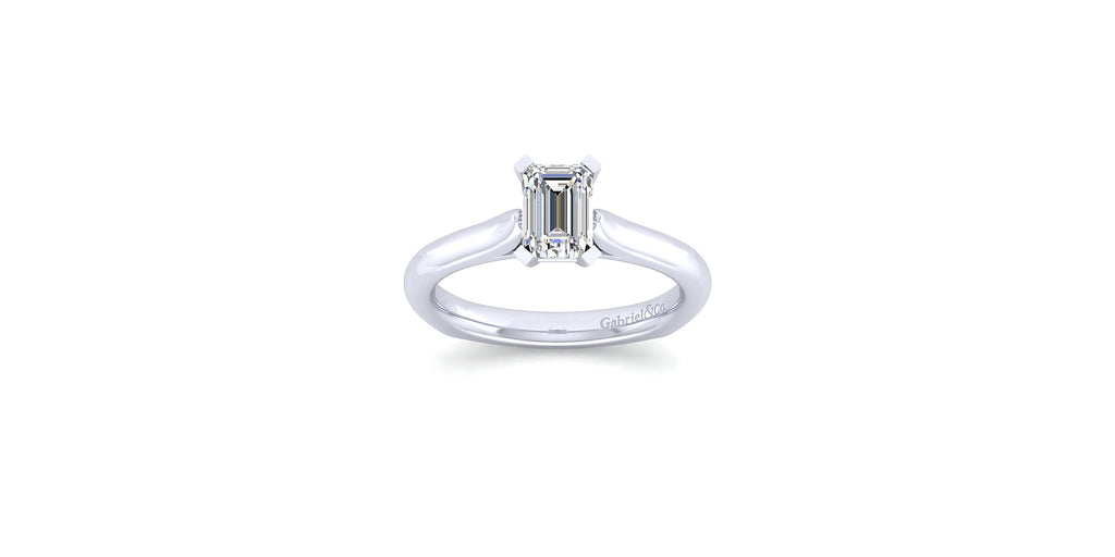 Allie 14k White Gold Emerald Solitaire Engagement Ring