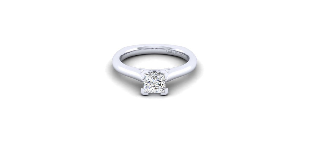 Allie 14k White Gold Princess Solitaire Engagement Ring