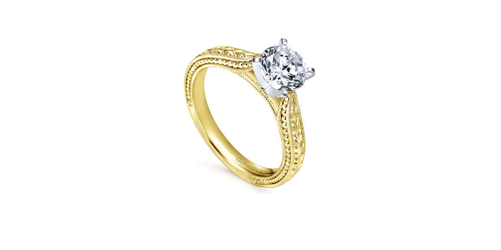 Maura 14k Yellow Gold Round Straight Engagement Ring