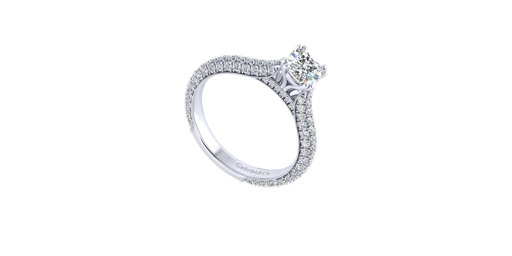 Kirsten 14k White Gold Cushion Shape Straight Engagement Ring