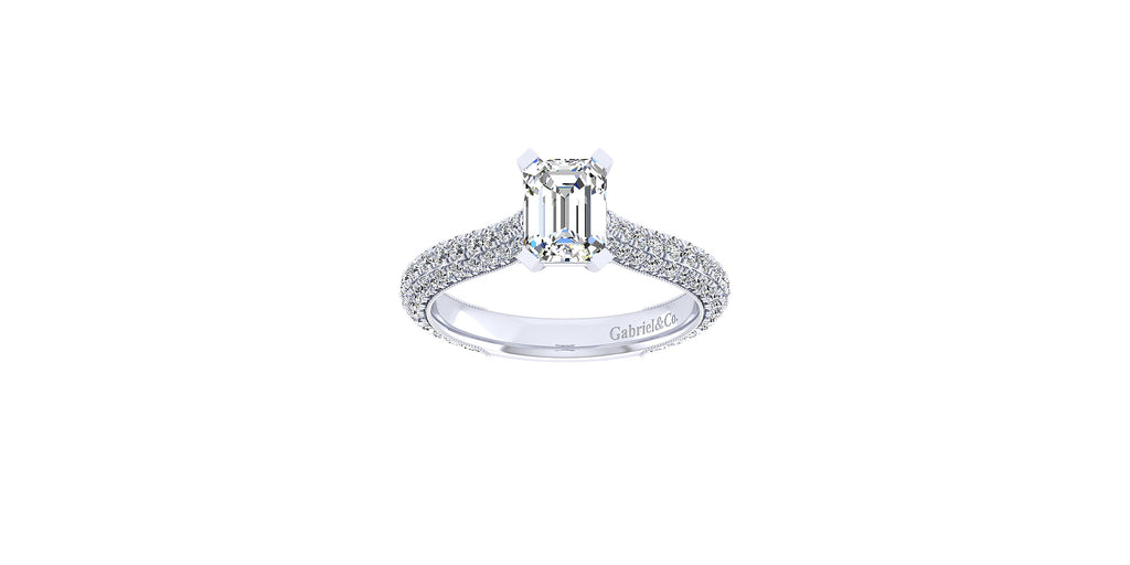 Kirsten 14k White Gold Emerald Shape Straight Engagement Ring
