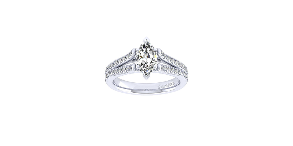 Janelle 14k White Gold Marquise Shape Split Shank Engagement Ring