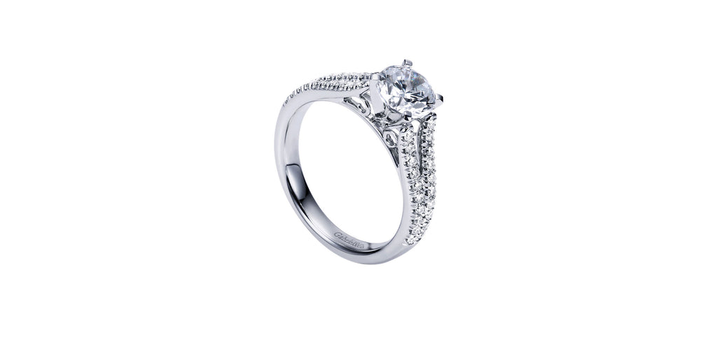 Janelle Platinum Round Split Shank Engagement Ring