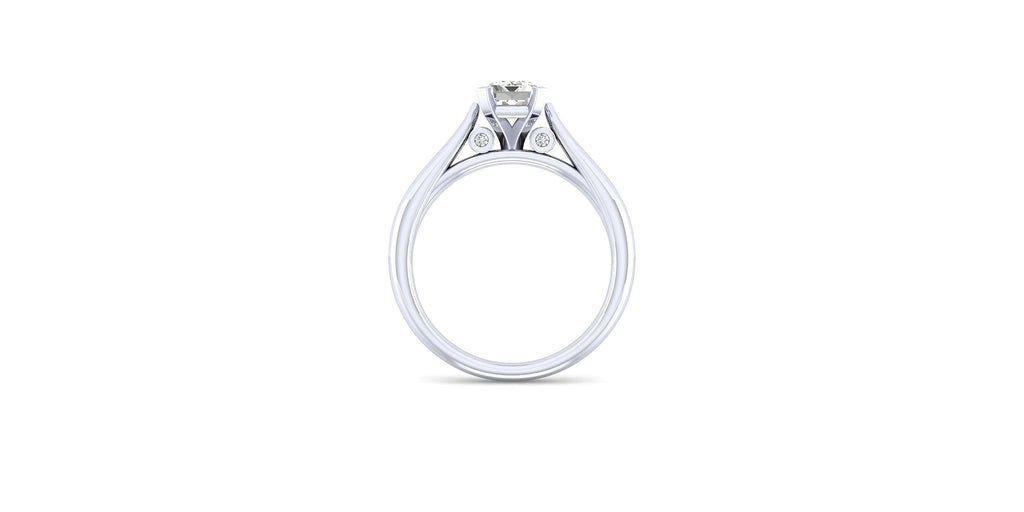 Cassie 14k White Gold Emerald Shape Solitaire Engagement Ring