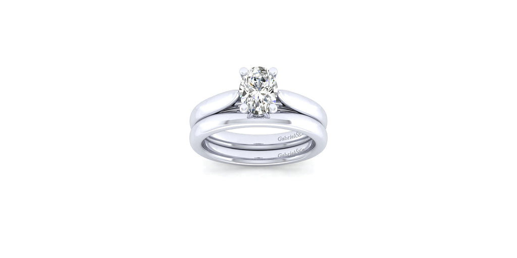 Cassie 14k White Gold Oval Shape Solitaire Engagement Ring