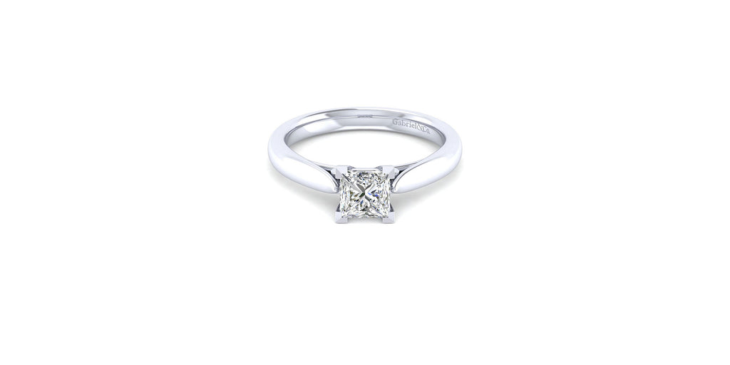 Cassie 14k White Gold Princess Shape Solitaire Engagement Ring
