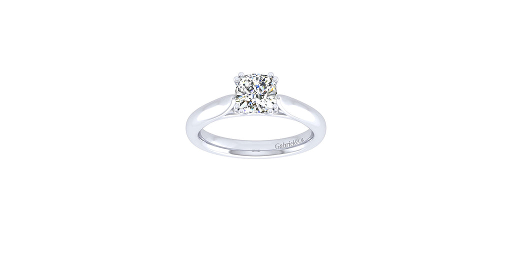 Leah 14k White Gold Cushion Solitaire Engagement Ring