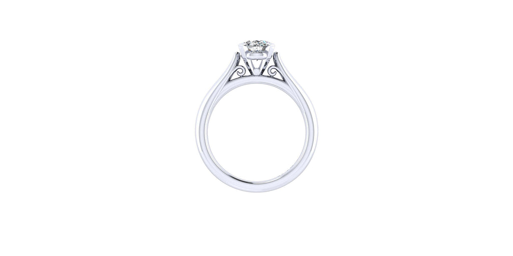 Leah 14k White Gold Oval Solitaire Engagement Ring