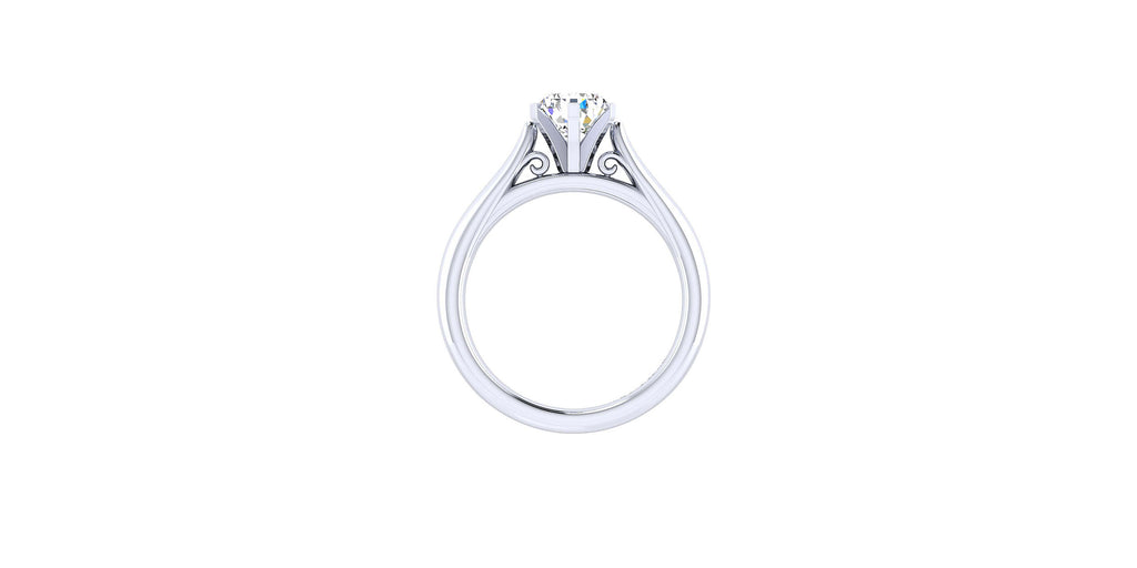 Leah 14k White Gold Pear Solitaire Engagement Ring