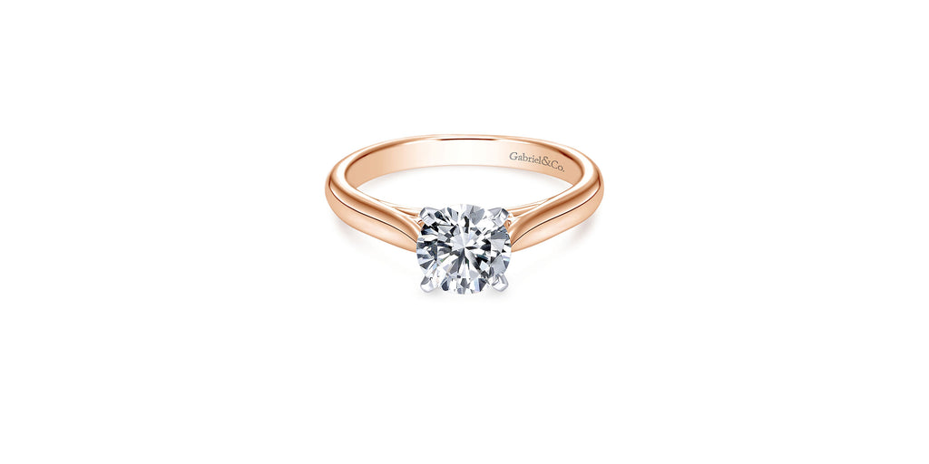 Leah 14k Rose Gold Round Solitaire Engagement Ring