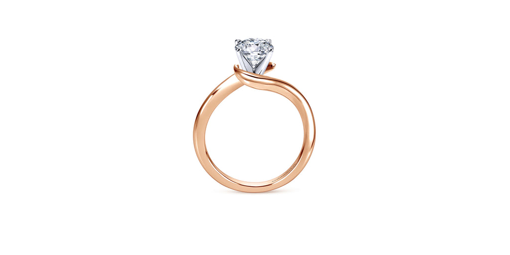 Alira 14k Rose Gold Round Bypass Engagement Ring