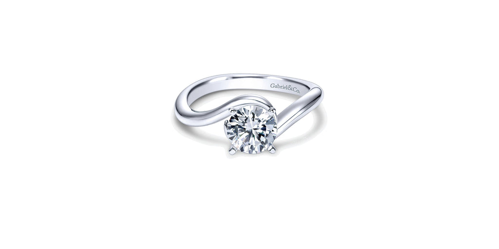 Alira 14k White Gold Round Bypass Engagement Ring