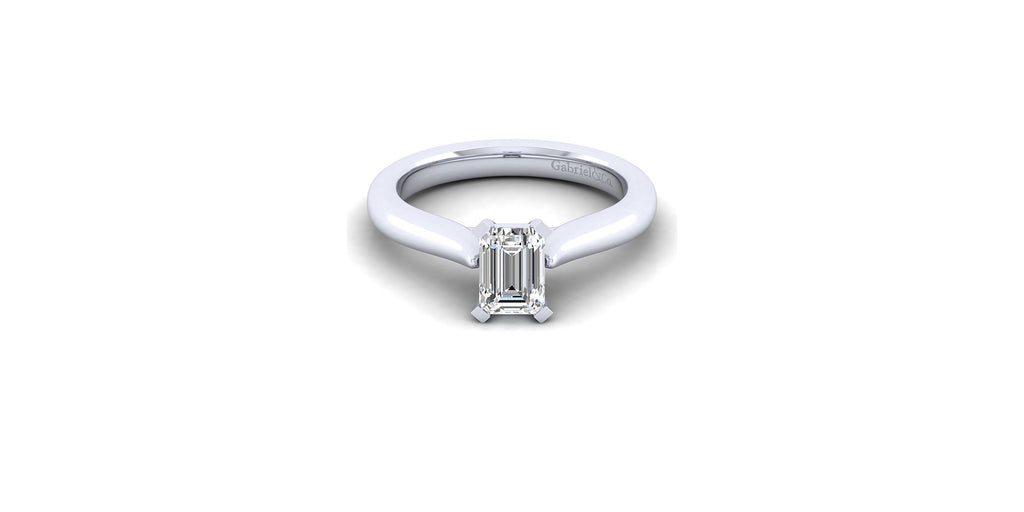 Lauren 14k White Gold Emerald Shape Solitaire Engagement Ring