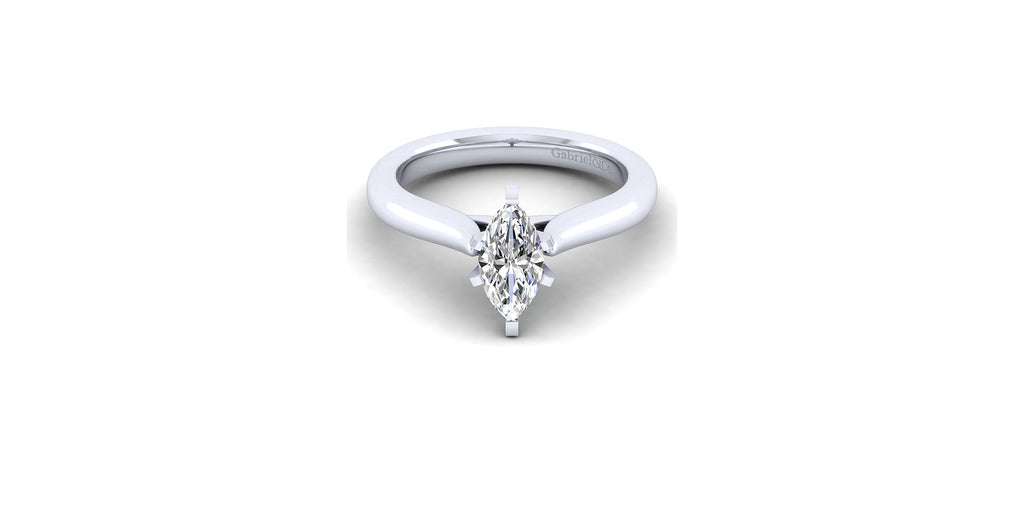 Lauren 14k White Gold Marquise Shape Solitaire Engagement Ring