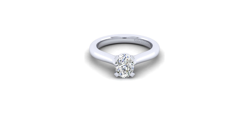 Lauren 14k White Gold Oval Shape Solitaire Engagement Ring