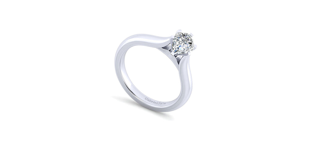 Lauren 14k White Gold Pear Shape Solitaire Engagement Ring