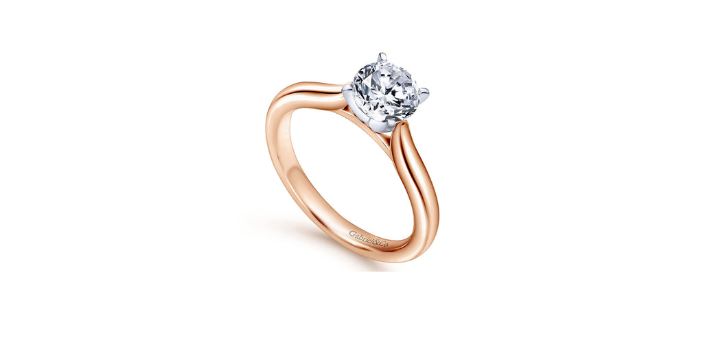 Lauren 14k Rose Gold Round Solitaire Engagement Ring