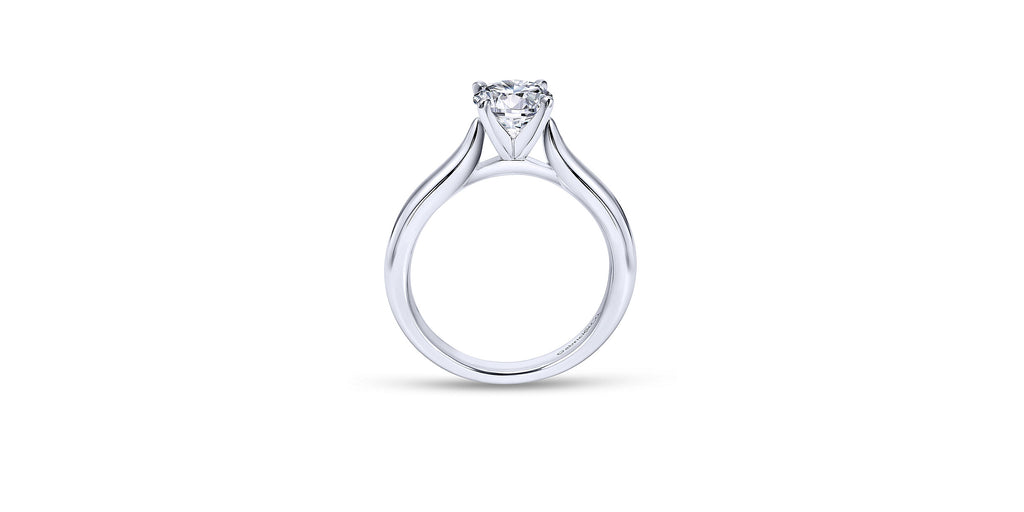 Lauren 14k White Gold Round Solitaire Engagement Ring