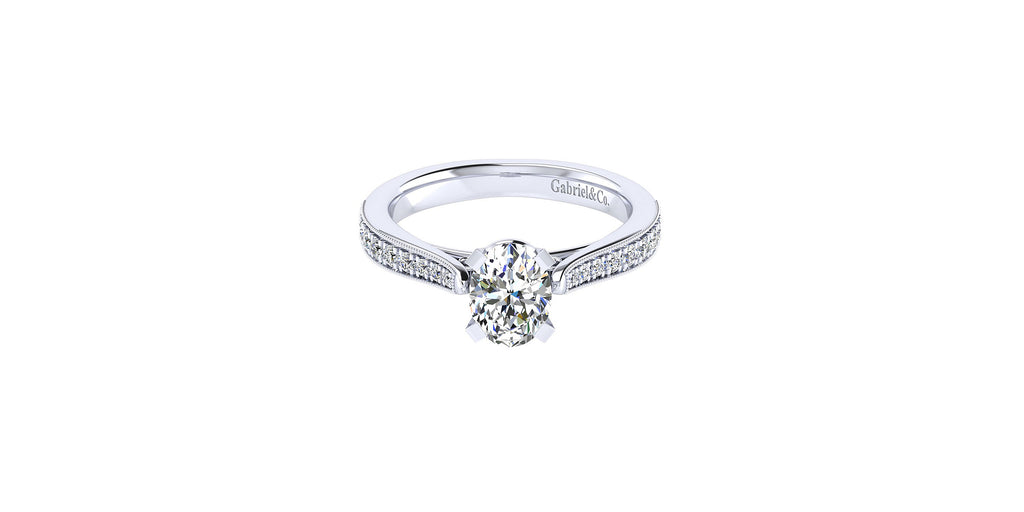 Sawyer 14k White Gold Oval Shape Straight Engagement Ring