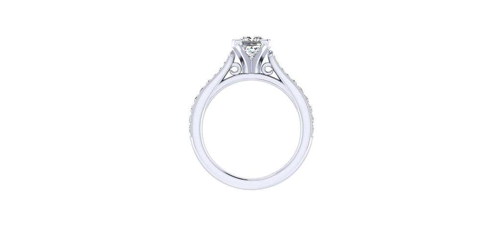 Sawyer 14k White Gold Princess Shape Straight Engagement Ring
