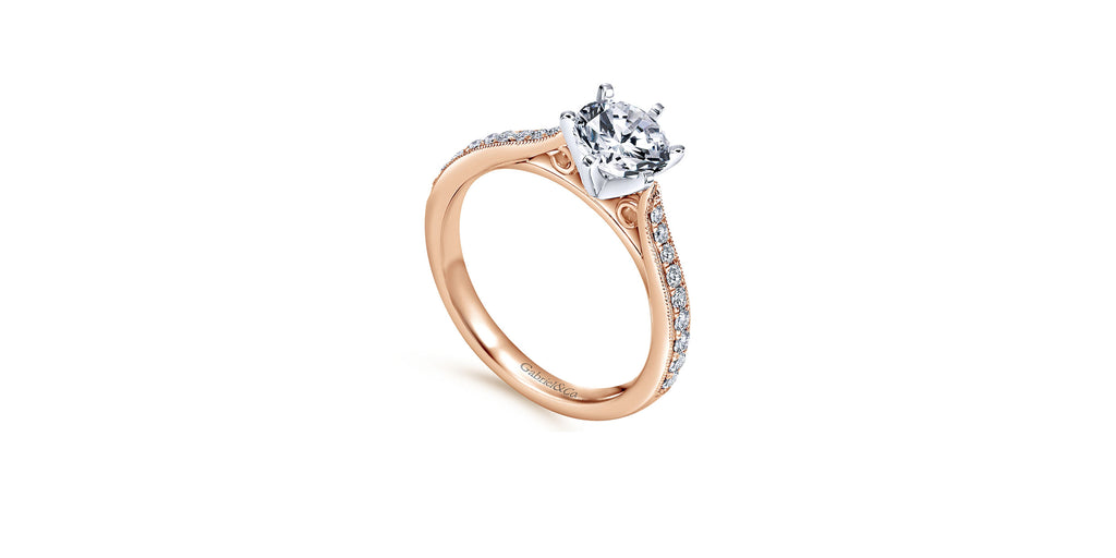 Sawyer 14k Rose Gold Round Straight Engagement Ring