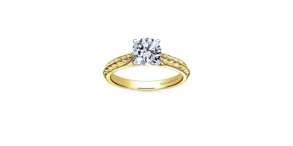 Della 14k Yellow Gold Round Straight Engagement Ring