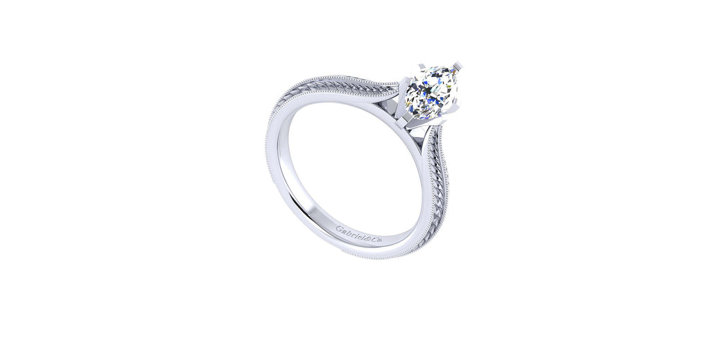 Della 14k White Gold Marquise Shape Straight Engagement Ring
