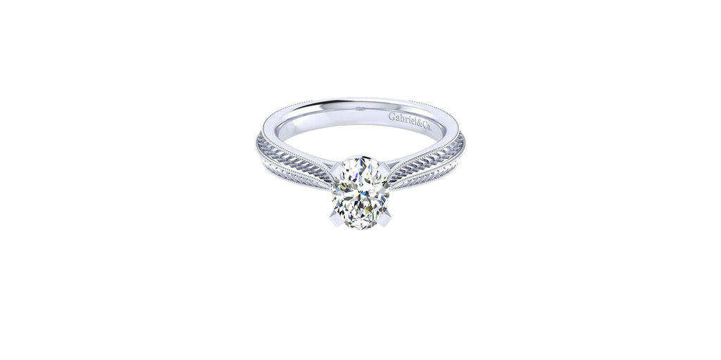 Della 14k White Gold Oval Shape Straight Engagement Ring