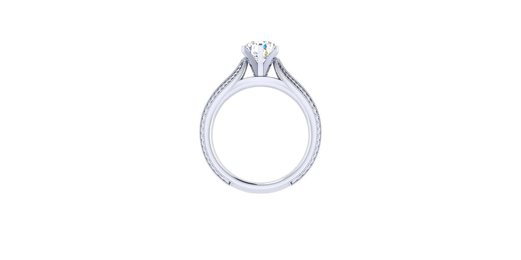 Della 14k White Gold Pear Shape Straight Engagement Ring