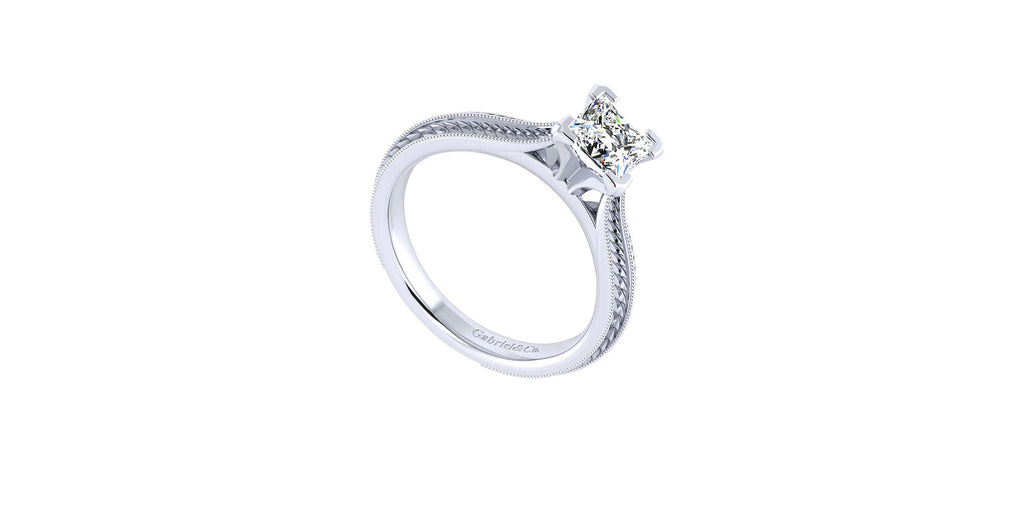 Della Vintage 14k White Gold Princess Shape Straight Engagement Ring
