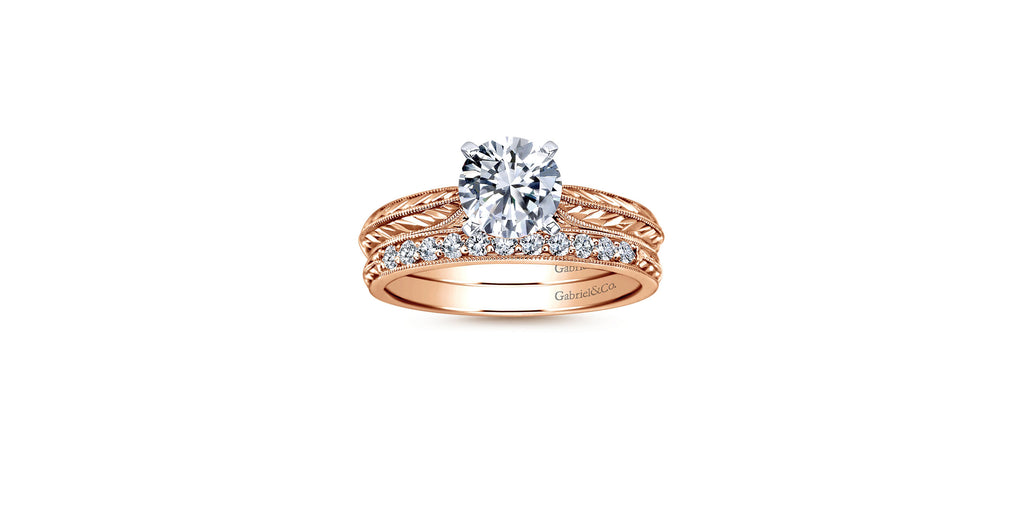 Della 14k Rose Gold Round Straight Engagement Ring