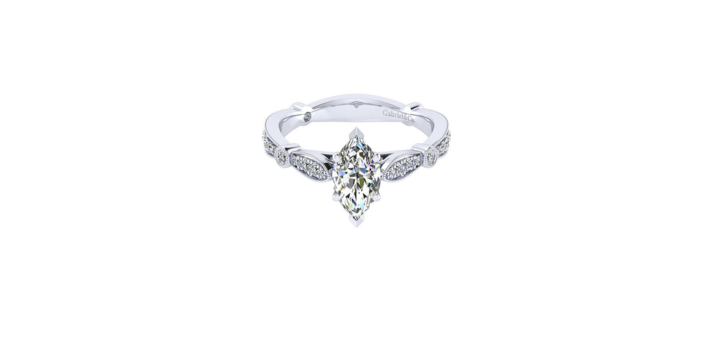 Mabel Vintage 14k White Gold Marquise Shape Straight Engagement Ring