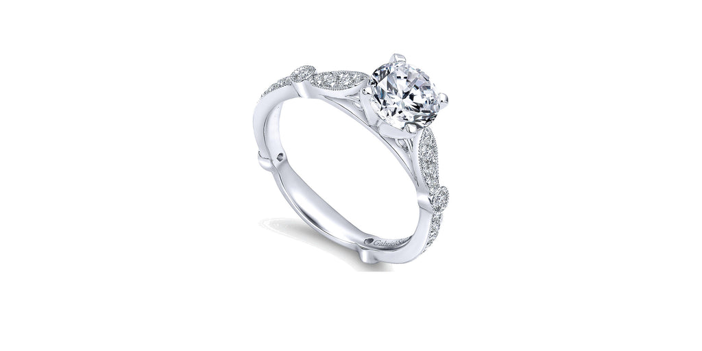 Mabel Vintage 14k White Gold Round Straight Engagement Ring