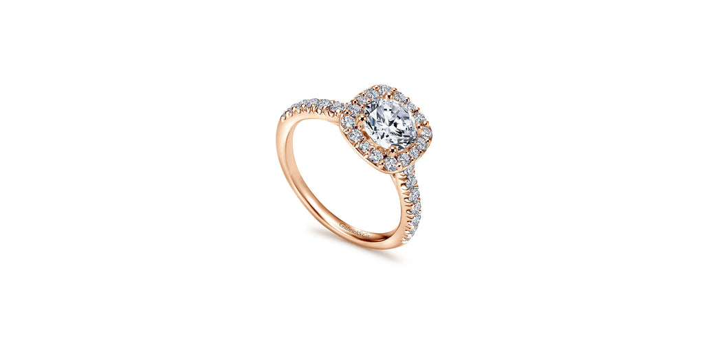 Kylie 14k Rose Gold Round Halo Engagement Ring