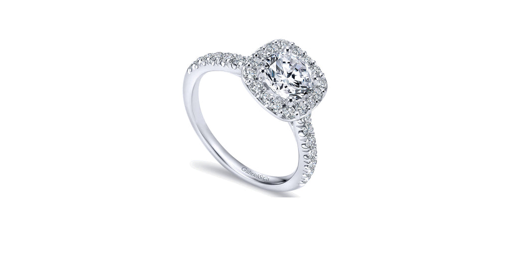 Kylie 14k White Gold Round Halo Engagement Ring