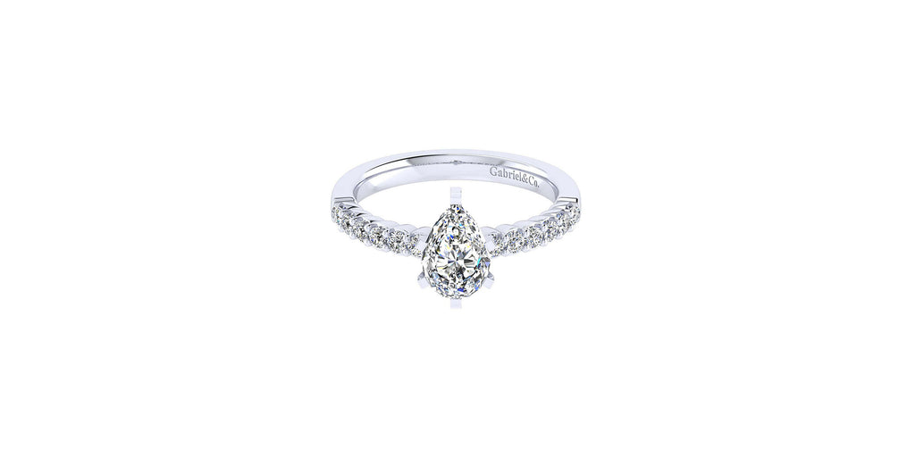 Caleigh 14k White Gold Pear Shape Straight Engagement Ring