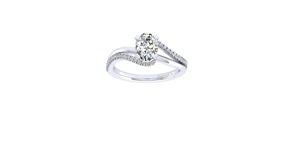Naomi 14k White Gold Oval Bypass Engagement Ring