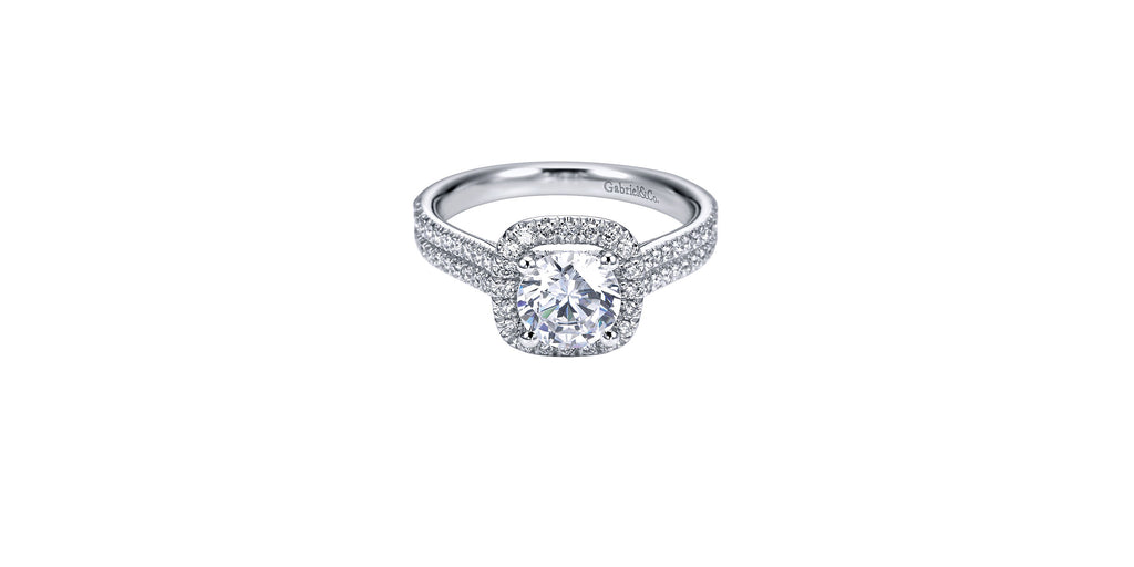Brianna Platinum Round Halo Engagement Ring