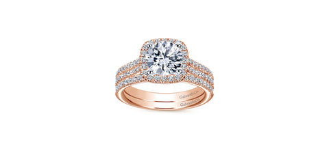 Brianna 14k Rose Gold Round Halo Engagement Ring