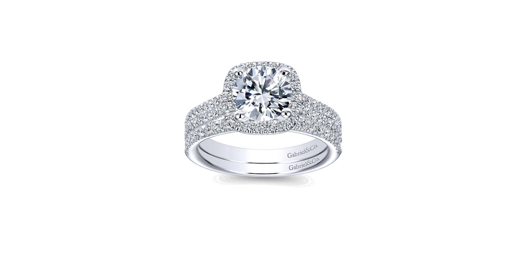 Brianna 14k White Gold Round Halo Engagement Ring