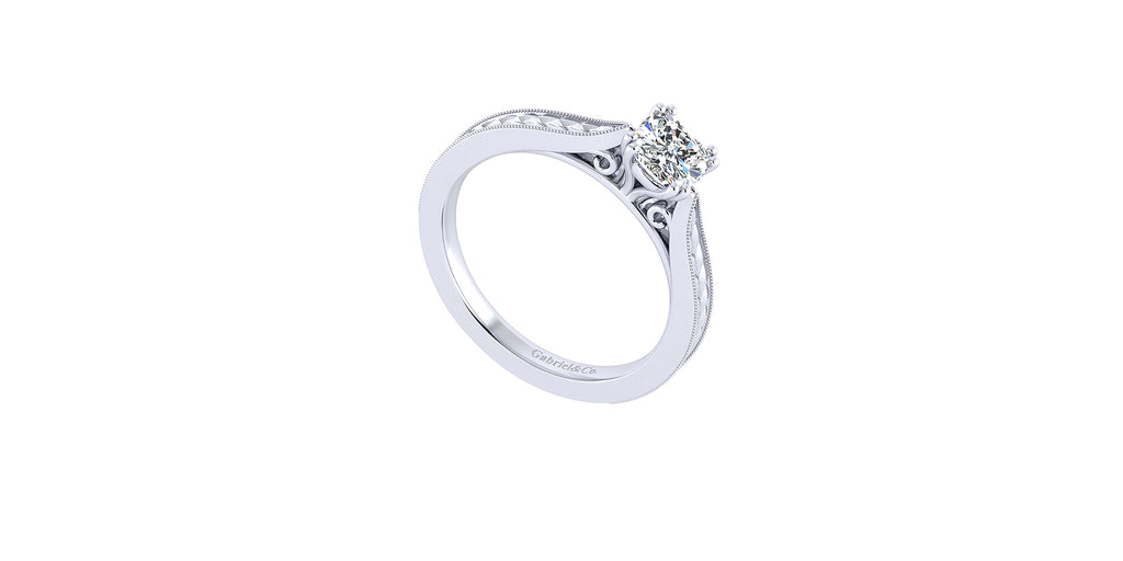 Cora 14k White Gold Cushion Shape Straight Engagement Ring