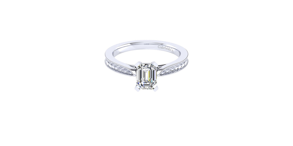 Cora 14k White Gold Emerald Shape Straight Engagement Ring
