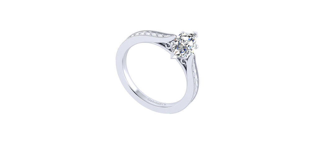 Cora 14k White Gold Marquise Shape Straight Engagement Ring