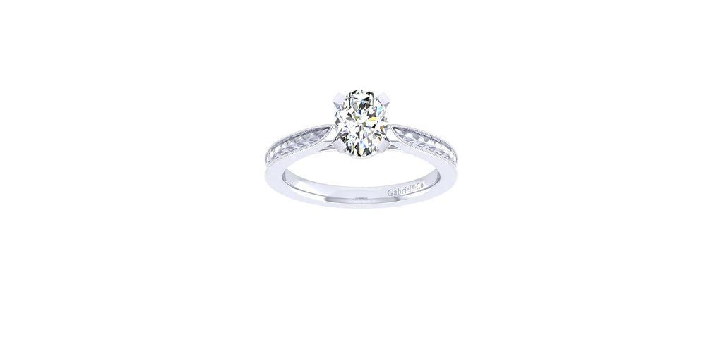Cora 14k White Gold Oval Shape Straight Engagement Ring