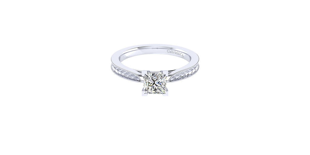 Cora 14k White Gold Princess Shape Straight Engagement Ring