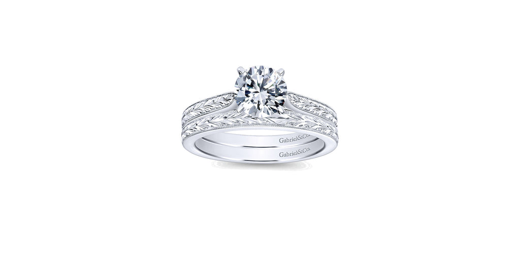 Cora Vintage 14k White Gold Round Solitaire Engagement Ring