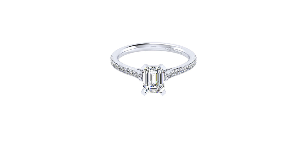 Joanna 14k White Gold Emerald Shape Straight Engagement Ring