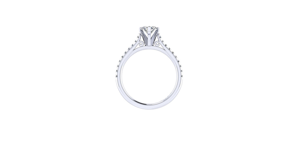 Joanna 14k White Gold Marquise Shape Straight Engagement Ring