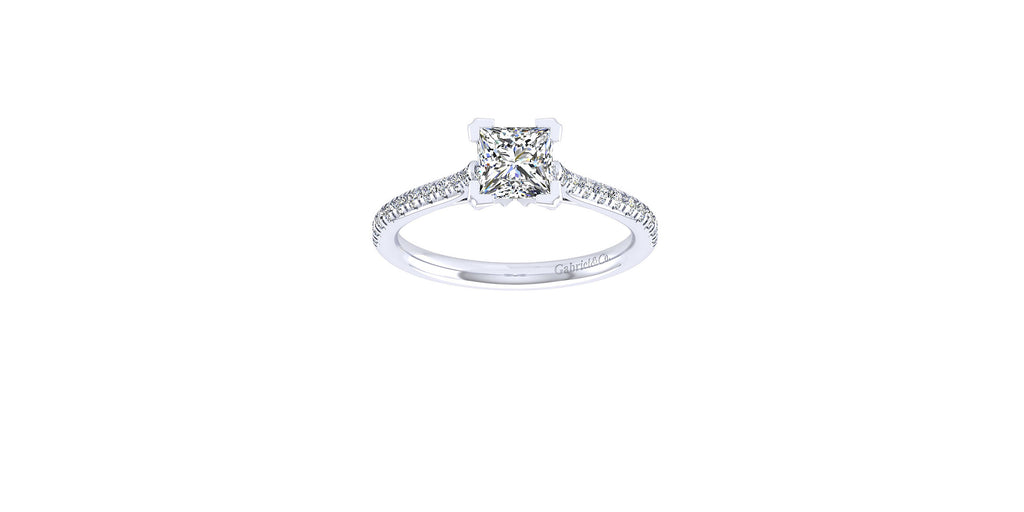 Joanna 14k White Gold Princess Shape Straight Engagement Ring