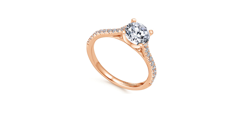 Joanna 14k Rose Gold Round Straight Engagement Ring